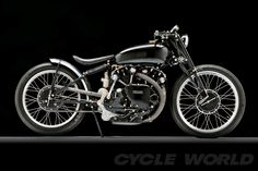 The immaculate proportions of a classic Vincent motorcycle.