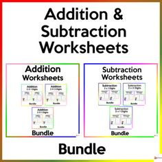 Help your students master the skills of adding and subtracting two by one digit, two by two digits, and three by one digit. This bundle includes 2 of our Math resources. This includes 120 worksheetsA. Addition Worksheets BundleUtilize these worksheets to reinforce:* Two-digit by one digit addition* ... School Resources, Classroom Resources, Math Resources, Math Activities, Classroom Organization, Classroom Management, School Stuff, Back To School, Addition And Subtraction Worksheets