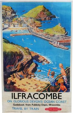 Ilfracombe in Glorious Devon's Ocean Coast. Vintage British Railway Travel poster by Harry Riley