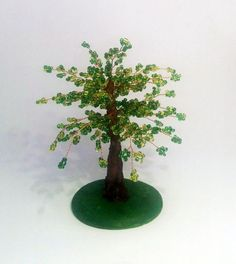 Small green tree beaded small gift small green by GiftsByTatjana