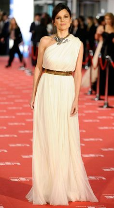 Grecian style, one shoulder dress and gold belt :)