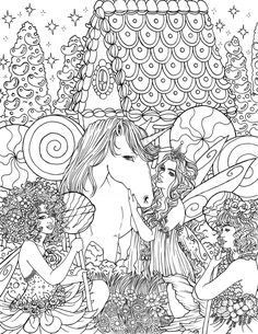 Fairy Coloring, Cute Coloring Pages, Coloring Books, Fairy Land, Fairy Houses, Baby Cards, Fairies, Angels, Tapestry