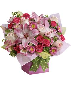Quite possibly the prettiest pink present ever a fantastic array of quite possibly the prettiest pink present ever a fantastic array of pink flowers in a hot pink gift box is contrasted brilliantly with bright gree mightylinksfo