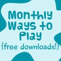 "Ideas for ""10 Ways to Play"" for each month of the year. Check them off as you complete them with the kids."