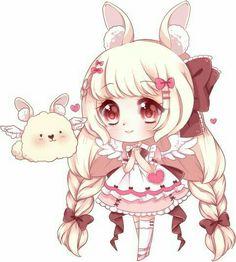 Kawaii bunny and girl