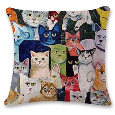 Flash Mob Cat Rules Crazy Cat Lady Cushion Cover Sofa Pillowcases Price: 8.99 & FREE Shipping #pets #dog #doglovergifts