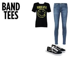 """BAND TEES"" by coconutlady-573 on Polyvore featuring Boohoo, AG Adriano Goldschmied, J.Crew, nirvana and bandtees"