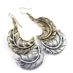 Leaf Feather Metal Earrings(US$1.99)(Free Shipping)