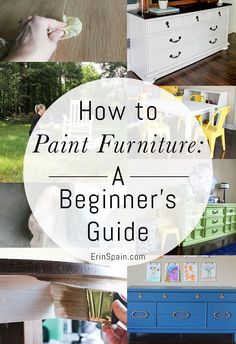 How To Paint Furniture: A Beginner's Guide - Erin Spain - This beginner's guide walks you through the step by step process of how to paint furniture. This technique produces a professional looking result. Old Furniture, Refurbished Furniture, Design Furniture, Repurposed Furniture, Furniture Projects, Furniture Making, Furniture Makeover, Bedroom Furniture, How To Paint Furniture
