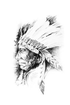 size: Art Print: Sketch Of Tattoo Art, Native American Indian Head, Chief, Isolated by outsiderzone : Native American Proverb, Native American Symbols, Native American Quotes, Native American History, Native American Indians, Native American Drawing, Native American Pictures, Native American Feather Tattoo, American Indian Tattoos