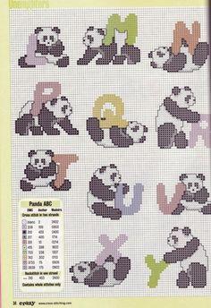 Gallery.ru / Фото #1 - Cross Stitch Crazy 038 октябрь 2002 - tymannost Cross Stitch Letters, Cross Stitch Boards, Cross Stitch Animals, Cross Stitching, Cross Stitch Embroidery, Cross Stitch Designs, Stitch Patterns, Panda Craft, Stuffed Animal Patterns