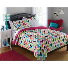 your zone bright chevron bed-in-a-bag bedding set - Walmart.com