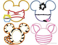 FOUR P0oh Mister Mouse Heads SET Machine Applique Embroidery Design, Multiple sizes including 4 inch
