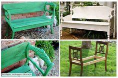 tuinbank gemaakt van 2 oude stoelen, kringwinkel-idee!