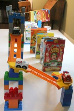 So COOL! Create a Ruth Goldberg Machine from recyclables and toy cars. What an awesome #stem activity for kids!