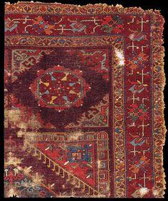 Turkish Rug Fragment With A Large Pattern Holbein Design Kircheim Orient Stars Collection Century