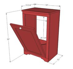Trash can cabinet (kitchen & bathrooms); building plans.