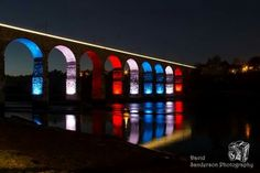 Royal Border Bridge lite up for the Queens 90th Birthday Celebrations