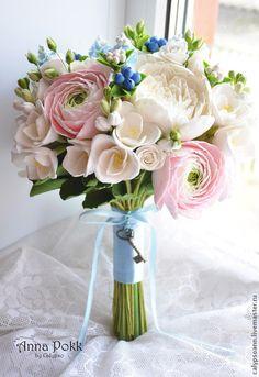 """Букет """" Shebby. Part 2"""" - полимерная глина,цветы из глины,букет невесты"""