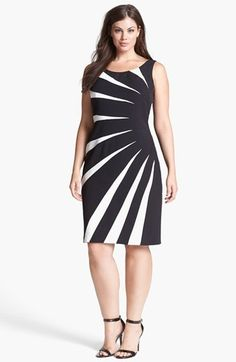 Adrianna Papell Colorblock Side Burst Sheath Dress (Plus Size)