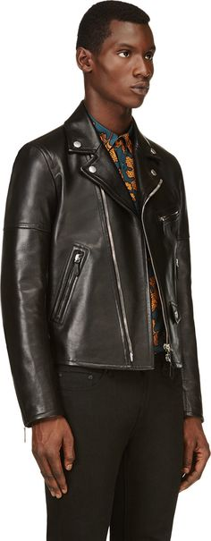 Burberry Prorsum Black Leather Classic Biker Jacket