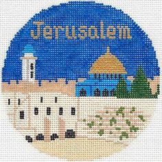 "Silver Needle Jerusalem Handpainted 4 25"" RD Needlepoint Canvas Ornament | eBay"