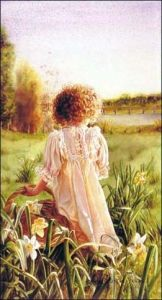 Susan Harrison-Tustain...Young girl picks up Daffodils in warm white dress with basket and brown curls