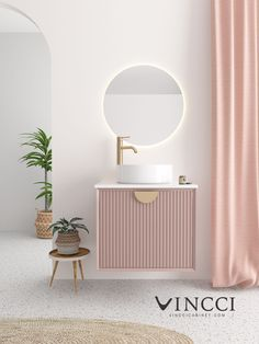 Crape Pink Wall Mounted Single Vanity with 1 Drawer and Microlite Countertop Washroom Design, Toilet Design, Modern Bathroom Design, Bathroom Interior Design, Modern Bathroom Vanities, Bathroom Vanity Designs, Modern Vanity, Vanity Bathroom, Luxury Bathrooms