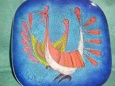 OUTSTANDING MIGUEL PINEDA ENAMEL COPPER PLATE MID-CENTURY MODERN ART BIRD DESIGN | eBay