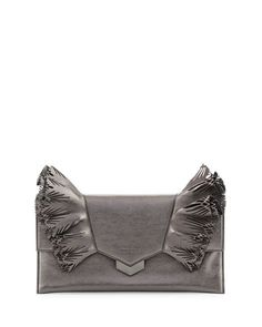 JIMMY CHOO Isabella Laser-Cut Ruffled Clutch Bag, Dark Gray. #jimmychoo #bags #leather #clutch #lining #metallic #hand bags #