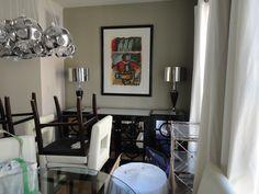 side bar, lamps, light fixture, artwork