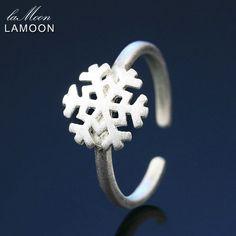 Lamoon Nette Draht Zeichnung 9*9mm Schneeflocke 925-Sterling-Silver Verstellbaren Ring S925 Feine Schmuck Kreative Geschenk für Mädchen LMRY008