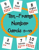 each year I begin teaching my kinders how to count and make numbers using a ten-frame. It's such a simple, yet highly effective visual for them to use.....    After modeling, I begin by putting these cards in a math tub where kids can practice making numbers by matching up how many counters to place on the card.