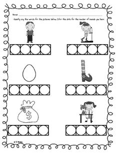 Worksheets Phoneme Segmentation Worksheets 1000 images about psf on pinterest nonsense words phonemic for students to say the sounds in a word represented by picture and color how many they hear this worksheet phoneme