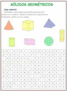 Plano de aula sobre Sólidos Geométricos e Perímetro - 4° Ano - Mundinho da Criança Preschool Learning Activities, Kindergarten Math, Teaching Kids, Mathematical Model, Exercise For Kids, Science Experiments, Professor, Education, Apollo