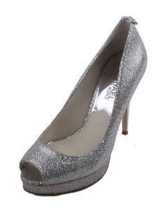 b79441b66c65 Michael Kors York Platform Womens Silver Glitter Peep Toe High Heels size 6  887050902849