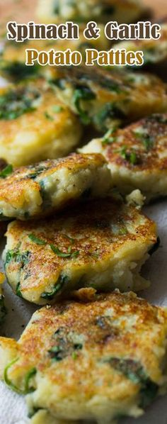 Spinach and Garlic Potato Patties