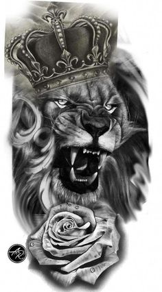 Lion tattoos hold different meanings. Lions are known to be proud and courageous creatures. So if you feel that you carry those same qualities in you, a lion tattoo would be an excellent match Lion Head Tattoos, Leo Tattoos, Irezumi Tattoos, Bodysuit Tattoos, Animal Tattoos, Tattoos Skull, Tattos, Lion Tattoo Sleeves, Best Sleeve Tattoos