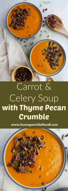 Carrot and Celery Soup with Thyme Pecan Crumble - a vibrant vegetable soup made with carrots, celery, onion, garlic, and vegetable broth. It's finished with a decadent pecan crumble that transforms this soup into a gourmet-like meal Garden Vegetable Soup, Vegetable Recipes, Vegetable Soups, Best Nutrition Food, Health And Nutrition, Nutrition Products, Nutrition Articles, Health Diet, Carrot And Celery Soup