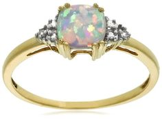 10k Yellow Gold, October Birthstone, Created Opal and Diamon