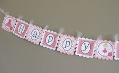 birthday banner -- tied together with tulle