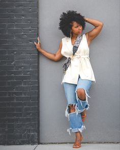 How to wear distressed denim, easy spring outfit idea, easy summer outfit idea, how to wear natural hair, distressed denim, how to wear a white top, sweeneestyle, indianapolis fashion blog, how to wear a blazer Simple Summer Outfits, Spring Outfits, Sleeveless Blazer, Summer Blazer, Blazer Outfits, Fashion Outfits, Style Fashion, Distressed Denim, Style Me