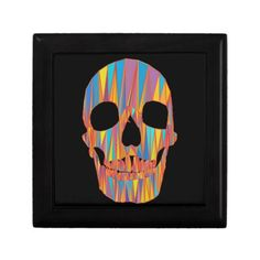 Colorful Skull Keepsake Boxes  #Skull #Halloween #Box