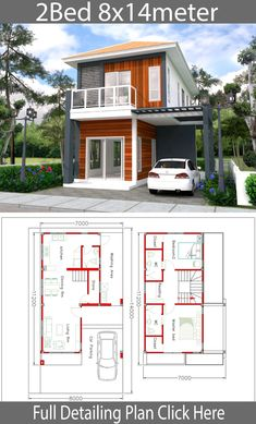 House design plan with 2 bedrooms - SamPhoas Plan Narrow House Designs, Small House Design, Modern House Design, Home Building Design, Home Design Plans, Building Plans, Building A House, House Roof, Facade House
