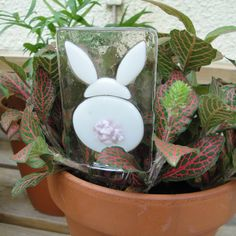 Bunny Rabbit Fused Glass Plant Stake. $10.00, via Etsy.