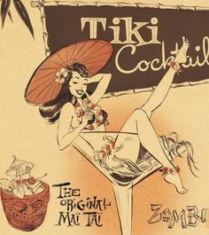 Tiki Party Fun with New Cocktail Recipe Book: The Mai Tai Manifesto - The Girl In The Jitterbug Dress Pop Art Vintage, Vintage Tiki, Vintage Hawaii, Vintage Ads, Vintage Posters, Retro Art, Décor Tiki, Tiki Art, Bars Tiki