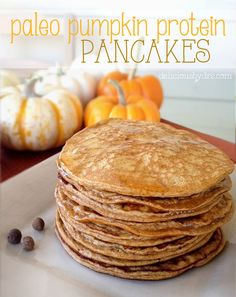 Paleo Pumpkin Protein Pancakesjust made these and subbed all the spices for 1 tsp pumpkin pie spice and maple syrup for honey. And I used Sun Warrior chocolate vegan protein. Pumpkin Recipes, Paleo Recipes, Real Food Recipes, Cooking Recipes, Paleo Breakfast, Breakfast Recipes, Pancake Recipes, Pancake Flavors, Pancake Dessert