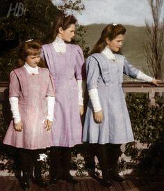Grand Duchess Tatiana, Grand Duchess Marie, and Grand Duchess Anastasia -- the three youngest daughters and middle children of Tsar Nicholas II and Empress Alexandra