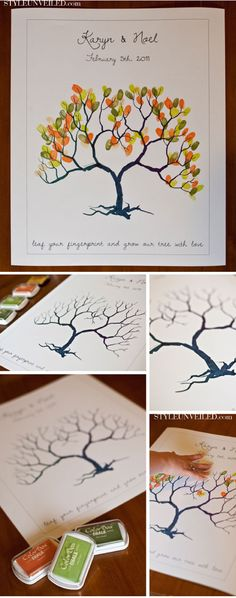 Fingerprint Tree.  This would be fun to use for a Family Reunion or large family gathering, even just all ten fingers of everyone in your family, write names under the tree and give to Grandparents as a gift.