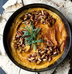 Silky Sweet Roasted Butternut Squash Hummus w/ Candied Pecans, Spicy Pepitas, & Honey (Vegan + Gluten Free!)